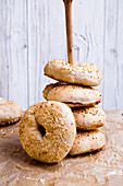 Vegan sesame seeds bagels
