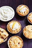 Vegan apple strudel cupcakes with plant-based cream