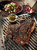 Porterhouse steak made in a Beefer with a Levantine cucumber and tomato salad