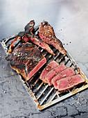 A T-bone steak made in a Beefer