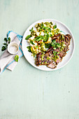 Italian beef with charred potato and cauliflower salad