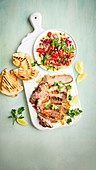 Middle eastern lamb with loaded baba ghanoush