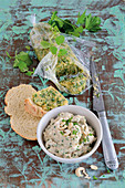 Cashew nut and tofu spread, almond and herb spread