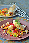 Sauerkraut roulade with a potato and apple medley