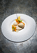 Apricots with Dulcey chocolate and lemon verbena ice cream