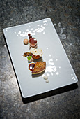 Variations of foie gras with coffee and milk