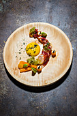 Lobster with pumpkin, miso, puffed rice and avocado