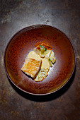 Sole with variations of cauliflowers and macis butter