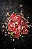 Beef carpaccio with port wine mayonnaise