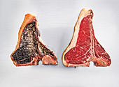 A dry-aged steak with mould cultures
