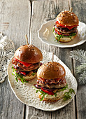 Burgers with sausage