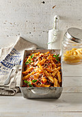 Baked penne with beef