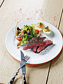 Hereford beef spider steak made in a Beefer with salad