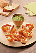 Prawns with yarrow mojo