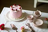 Birthday strawberry cake