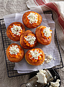 Potato doughnuts with carrot jam