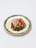 Kale with Mettwurst (smoked pork sausage) and gammon