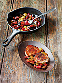 Pork fillet made in a Beefer with a grape and chorizo salsa