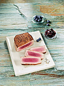 Tuna steak made in a Beefer with blueberry chutney