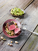 Wagyu rump steak made in a Beefer with a herb spelt salad and guacamole