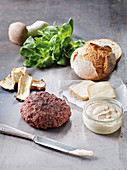 Game burger made in a Beefer with taleggio