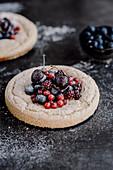 Omelette with cherries blackberries blueberries and blackberries
