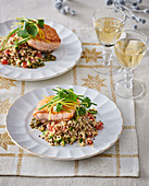 Salmon with capers and quinoa