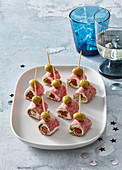 Salami canapes with cheese