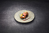 Dukkah saddle of lamb with roasted barley and malt mayonnaise