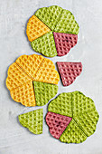 Colourful vegetable waffles made with spinach, beetroot and carrot