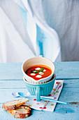 Tomato and mozzarella soup