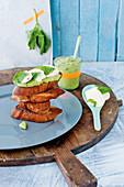 Mozzarella and avocado bruschetta