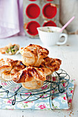 Puff pastry mozzarella pies filled with ham and mushrooms