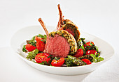 Saddle of lamb with a mozzarella and herb crust