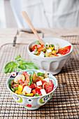 Lukewarm antipasti salad with mozzarella