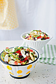 Mexican potato salad with corn, mozzarella and olives