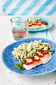 Rose fish parcels with tomatoes, pesto and mozzarella