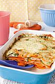 Sweet potato gratin with mozzarella
