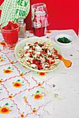 Tuna farfalle with tomatoes and mozzarella