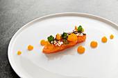 Salmon sashimi, puffed rice and tangerine