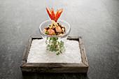 Tofu with yuzu, scarlet shrimps, soya crunch and tomato caviar