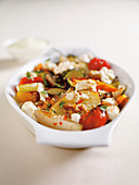Oven-grilled vegetables with sheep's cheese