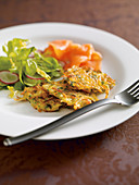 Potato fritters with smoked salmon trout