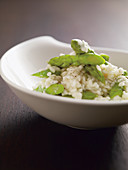 Risotto with green asparagus, white wine and Parmesan