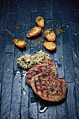 Grilled steak from tri tips with Baba Ganoush