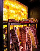 Dry aging Dry aging in the aging cold store with salted toast