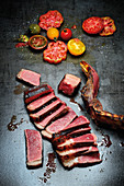 Strip Loin from Txogitxu with colorful tomato salad