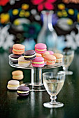 Colorful macarons with white chocolate filling