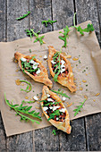 Pide with braised vegetables and fresh goat cheese