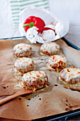 Giant, stuffed mushrooms with mozzarella and melted cheese